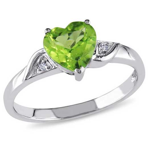 Peridot Heart Ring with Diamond Accents in 10k White Gold