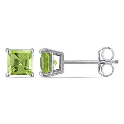 BAL001103: Square Cut Peridot Stud Earrings in 14k Wht Gold