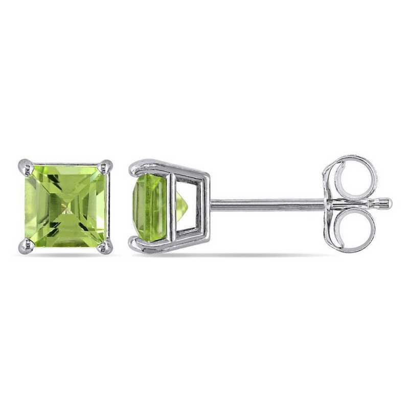 BAL001103: Square Cut Peridot Stud Earrings in 14k Wht Gold