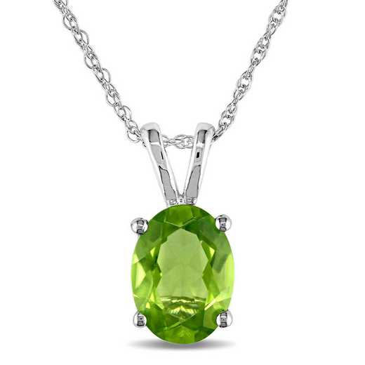 BAL001104: Oval Peridot Solitaire Pendant/Chain/10k Wht Gld