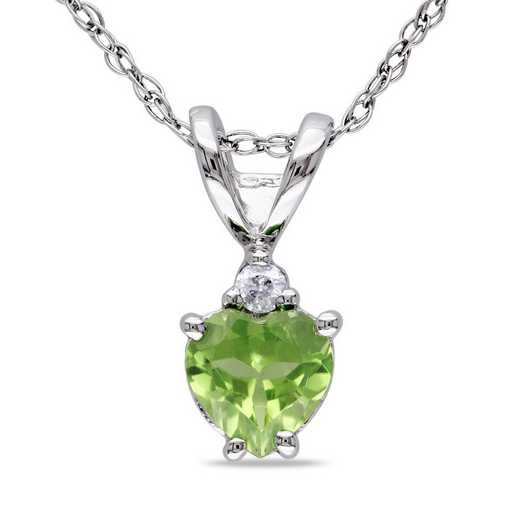 BAL001105: Peridot/Diamond Accent Heart Pendant/Chain/10k Wht Gld