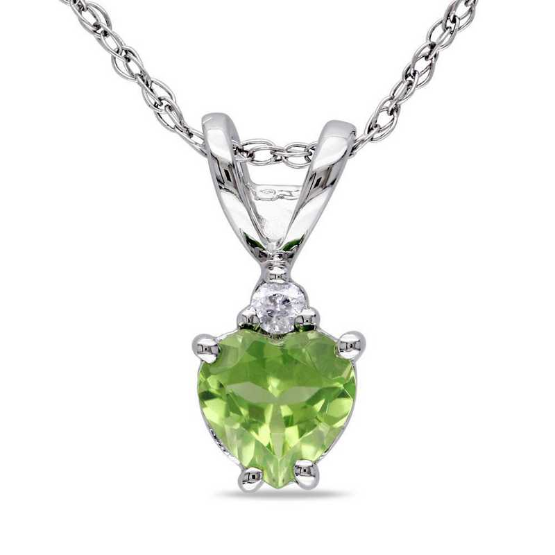 BAL001105: Peridot/Diamond Accent Heart Pendant/Chain/10k Wht Gld
