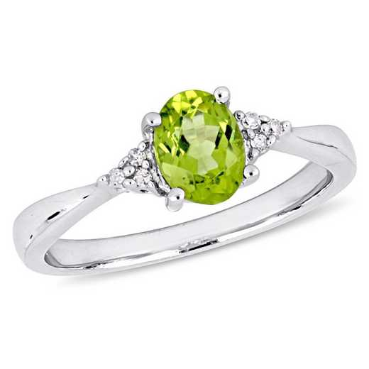 Oval Cut Peridot and Diamond Accent Ring in Sterling Silver