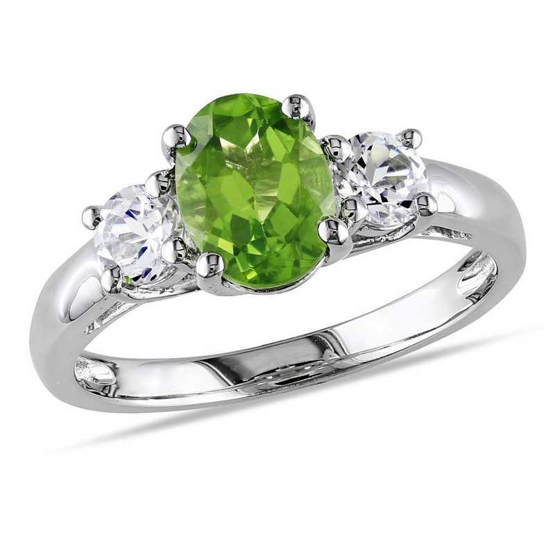 Oval Peridot and Created White Sapphire 3-Stone Ring in Sterling Silver