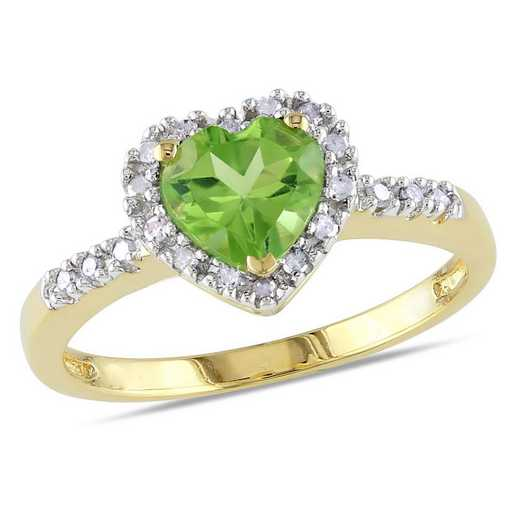 Peridot and Diamond Accent Halo Heart Ring in 10k Yellow Gold