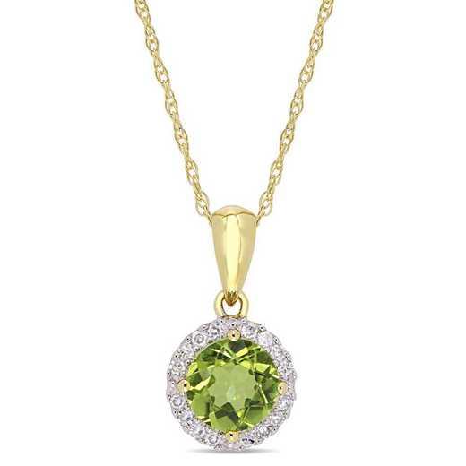 BAL001109: Peridot/1/10 CT TW Diamond Halo Pendant/Chain/10k Yelow Gold