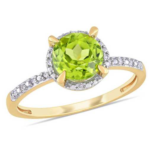 Peridot and Diamond Accent Halo Ring in 10k Yellow Gold
