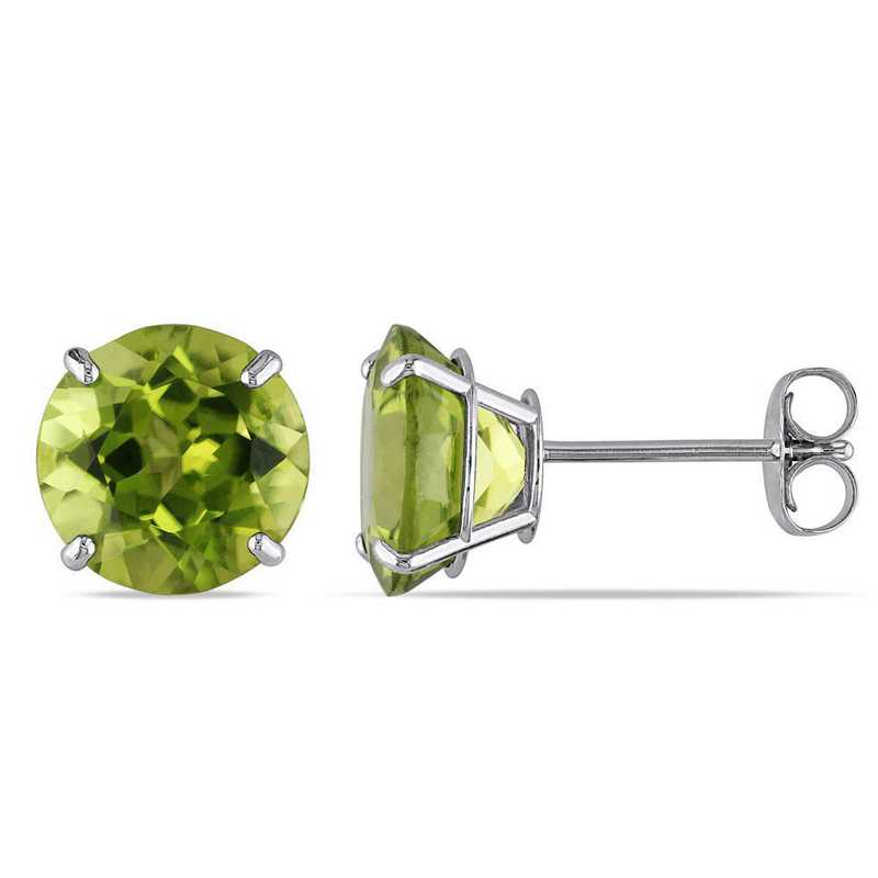 BAL001111: Peridot Solitaire Stud Earrings in 14k Wht Gold