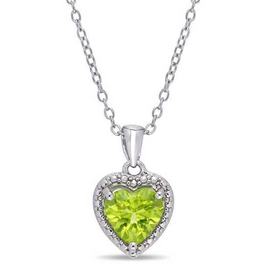 BAL001112: Peridot Heart Halo Pendant with Chain in SS