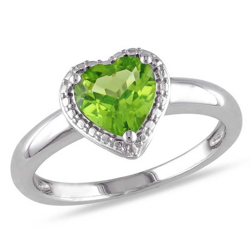 Peridot Halo Heart Ring in Sterling Silver