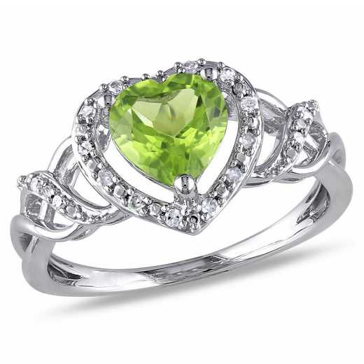 Peridot and Diamond Accent Open Heart Crossover Ring in Sterling Silver