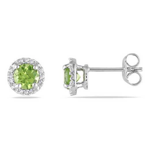 BAL001115: Peridot/Diamond Halo Stud Earrings in SS