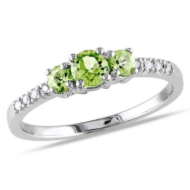 Peridot 3-Stone Ring with Diamond Accents in 10k White Gold