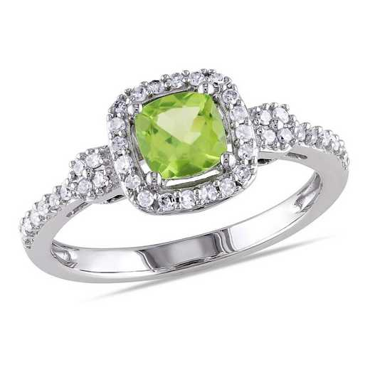 Cushion Cut Peridot and 1/6 CT TW DIamond Halo Ring in 10k White Gold