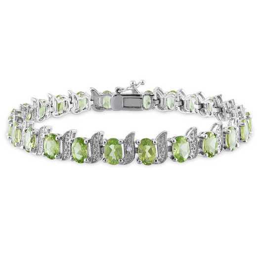 BAL001118: Peridot/Diamond Accent Link Bracelet in SS