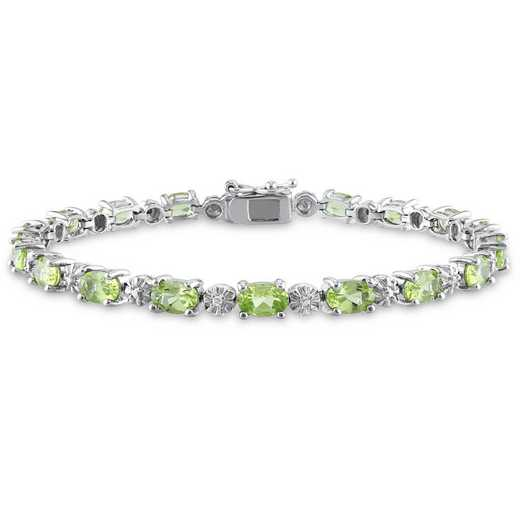 BAL001119: Peridot/Diamond Accent Bracelet in SS