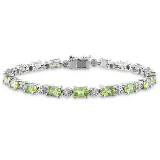 BAL001119: Peridot/Diamond Accent Bracelet in SS
