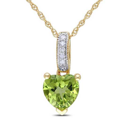 BAL001120: Peridot/Diamond Accent Heart Pendant w/ Chain/10k Yelow Gold