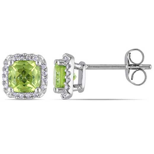 BAL001121: Peridot/1/10 CT TW Diamond Halo Stud Earrings in 10k Wht Gld