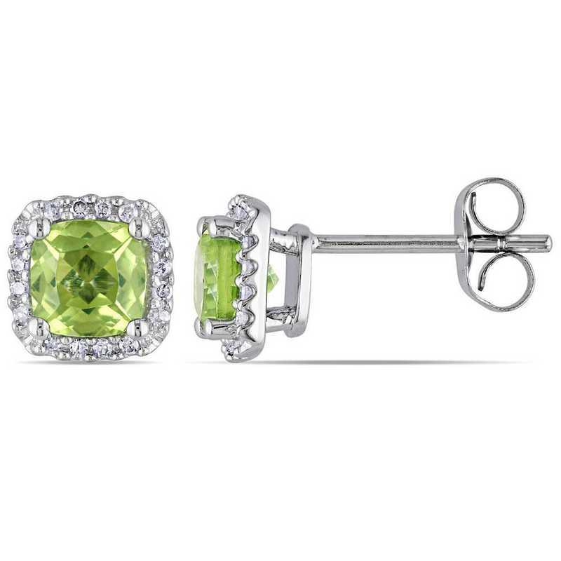 BAL001121: Peridot/1/10 CT TW Diamond Halo Stud Earrings in 10k Wht Gld