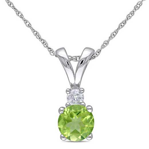 BAL001122: Peridot/Diamond Pendant with Chain/10k Wht Gold