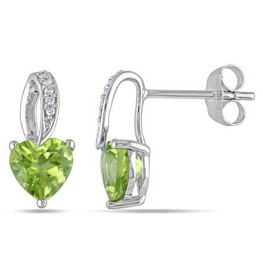 BAL001123: Peridot Heart Earrings with Diamonds in 10k Wht Gold