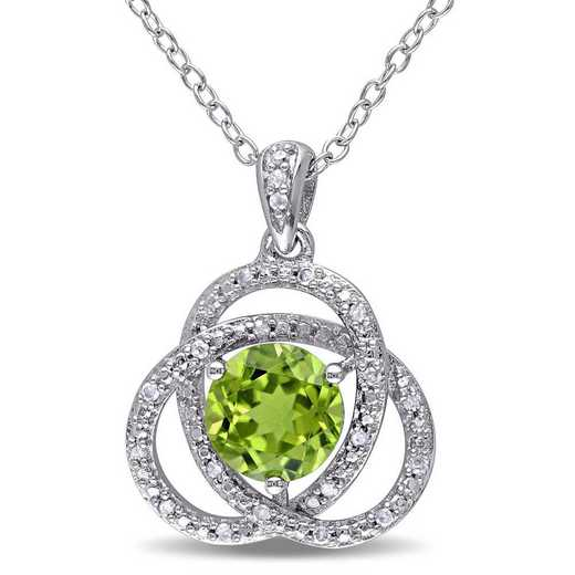 BAL001125: Peridot/1/10 CT TW Diamond Trillium Necklace in SS