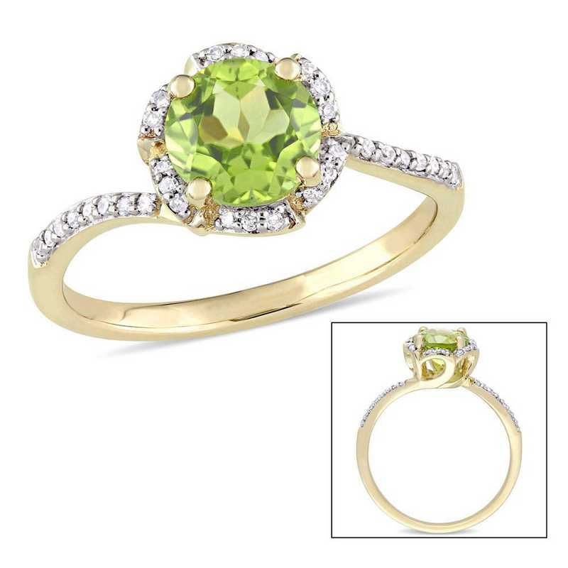 Peridot and 1/10 CT TW Diamond Floral Halo Ring in 14k Yellow Gold