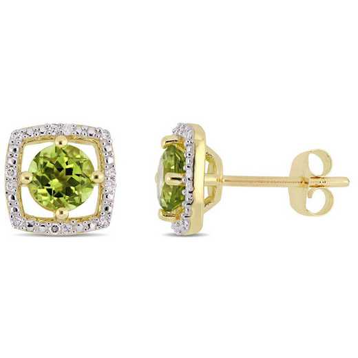 BAL001128: Peridot/Diamond Square Stud Earrings in 10k Yelow Gold
