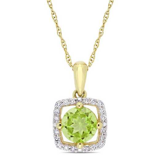 BAL001129: Peridot/Diamond Square Halo Pendant/ Chain in 10k Yelow Gold