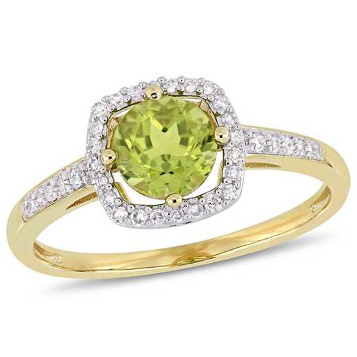 Peridot and 1/7 CT TW Diamond Halo Square Ring in 10k Yellow Gold