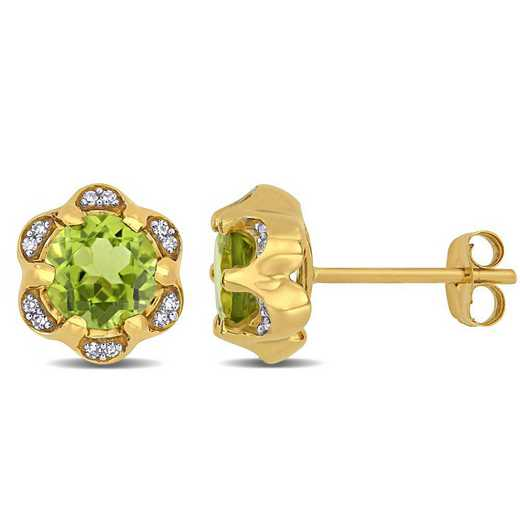 BAL001132: Peridot/Diamond Accent Flower Stud Earrings/14k Yelow Gold