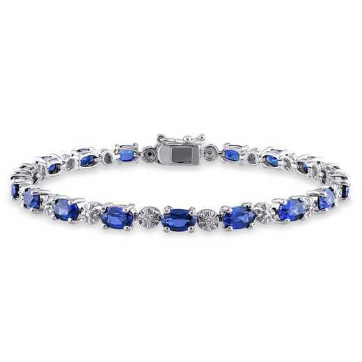 BAL001134: Created Blu Sapphire/Diamond/Accent Bracelet in SS