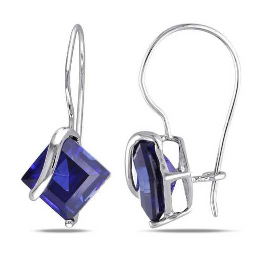BAL001138: Square Cut Created Blue Sapphire Earrings in 10k Wht Gold