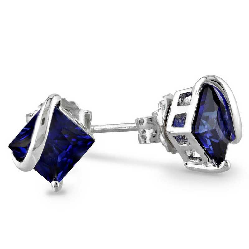 BAL001139: Created Blue Sapphire Stud Earrings in SS