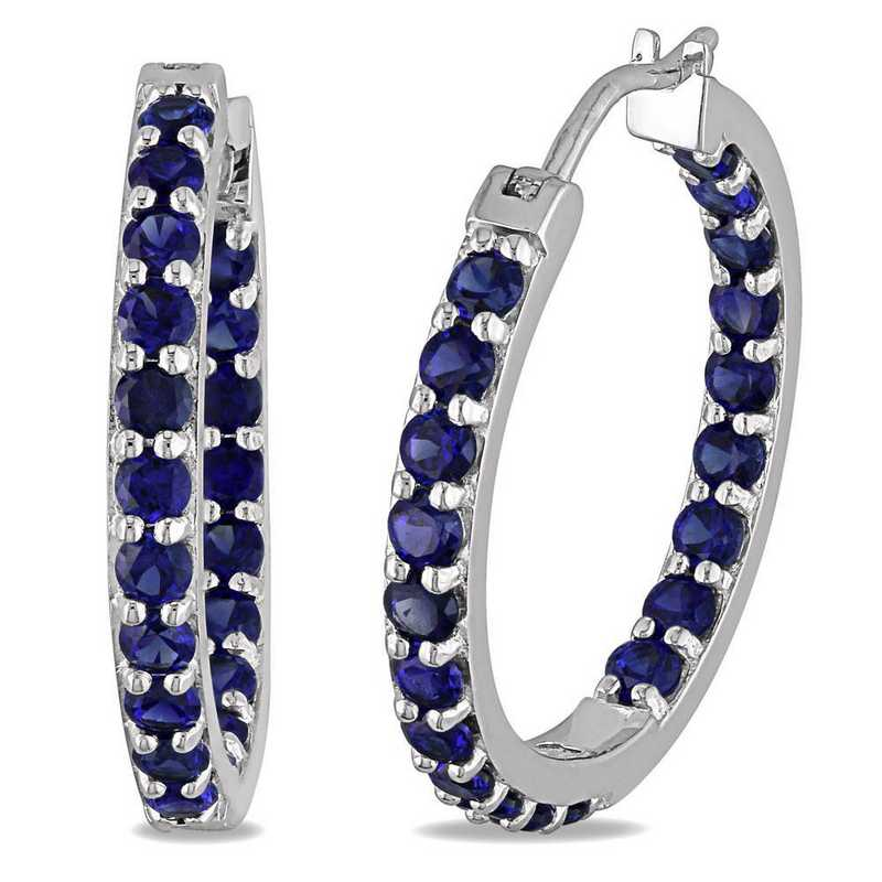 BAL001140: Created Blue Sapphire Inside Outside Hoop Earrings in SS