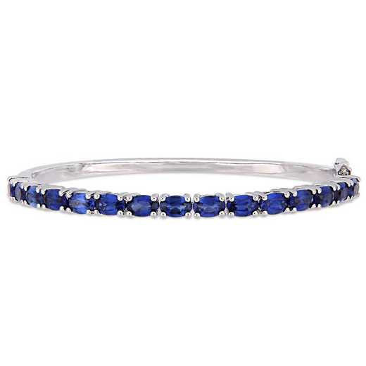 BAL001141: Oval-Cut Created Blu Sapphire Bangle in SS