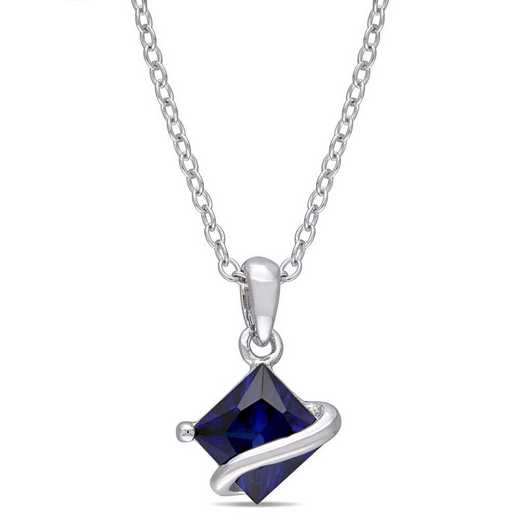 BAL001142: Created Blue Sapphire Square Pendant With Chain/SS