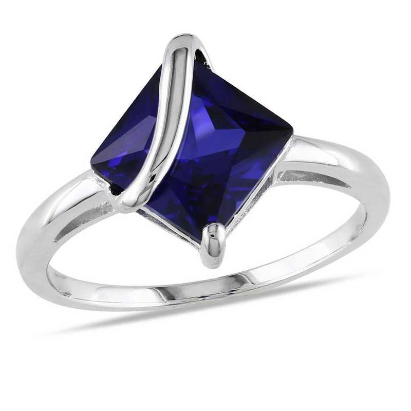 Created Blue Sapphire Swirl Ring in Sterling Silver