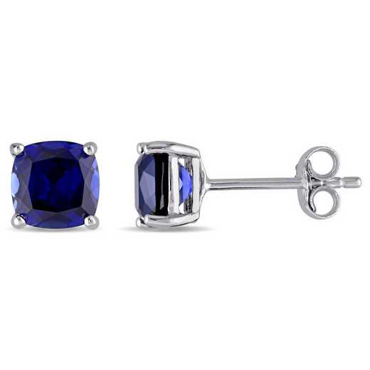 BAL001144: Cushion Cut Created Sapphire Stud Earrings in SS