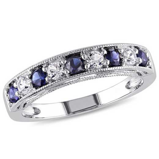Created Blue and White Sapphire Band Ring in Sterling Silver