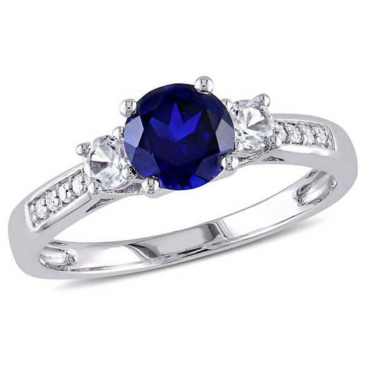 Created Blue and White Sapphire 3-Stone Ring with Diamond Accents in 10k White Gold