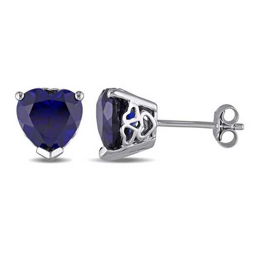 BAL001148: Created Blue Sapphire Heart Stud Earrings in SS