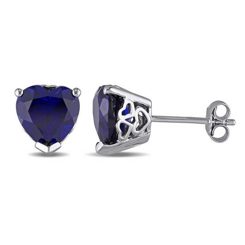 BAL001148: Created Blue Sapphire Heart Stud Earrings in SS