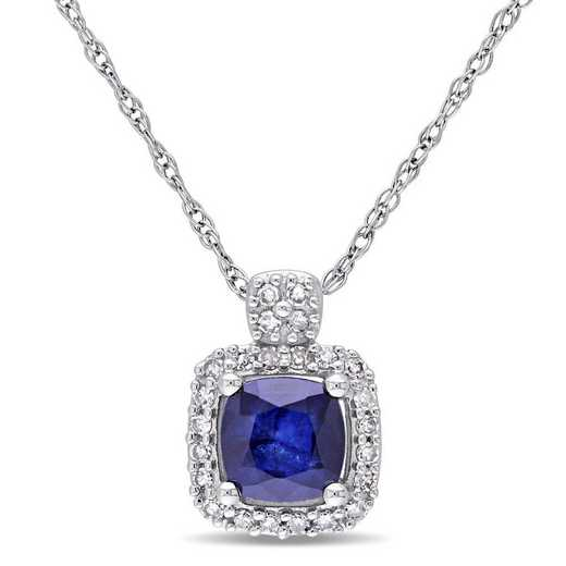 BAL001149: Diffused Sapphire/1/10CT TW Diamnd Halo Necklace/10kWht Gold