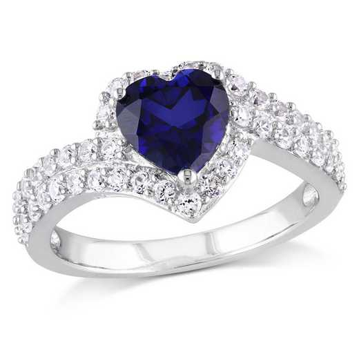Created Blue and White Sapphire Heart Double Row Ring in Sterling Silver