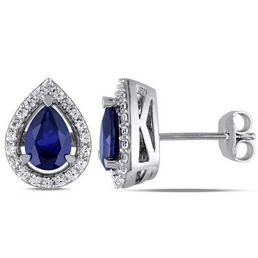 BAL001151: Created Blue/Wht Sapphire Teardrop Stud Earrings in SS
