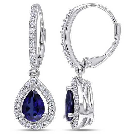 BAL001152: Created Blue/Wht Sapphire Teardrop Earrings in SS