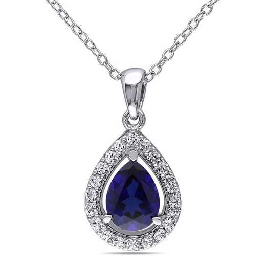 BAL001153: Created Blue/Wht Sapphire Teardrop Halo Necklace in SS