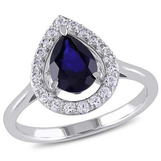 Created Blue and White Sapphire Teardrop Halo Ring in Sterling Silver